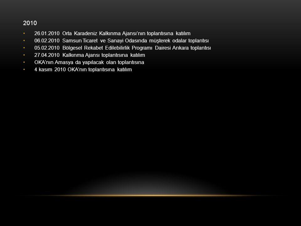 2010 •26.01.2010 Orta Karadeniz Kalkınma Ajansı'nın toplantısına katılım •06.02.2010 Samsun Ticaret ve Sanayi Odasında müşterek odalar toplantısı •05.