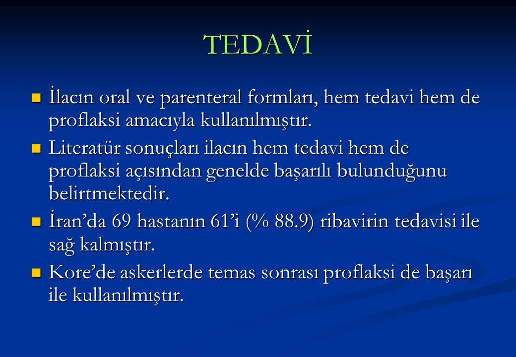 TEDAVİ  İlacın oral ve parenteral formları, hem tedavi hem de proflaksi amacıyla kullanılmıştır.  Literatür sonuçları ilacın hem tedavi hem de profl