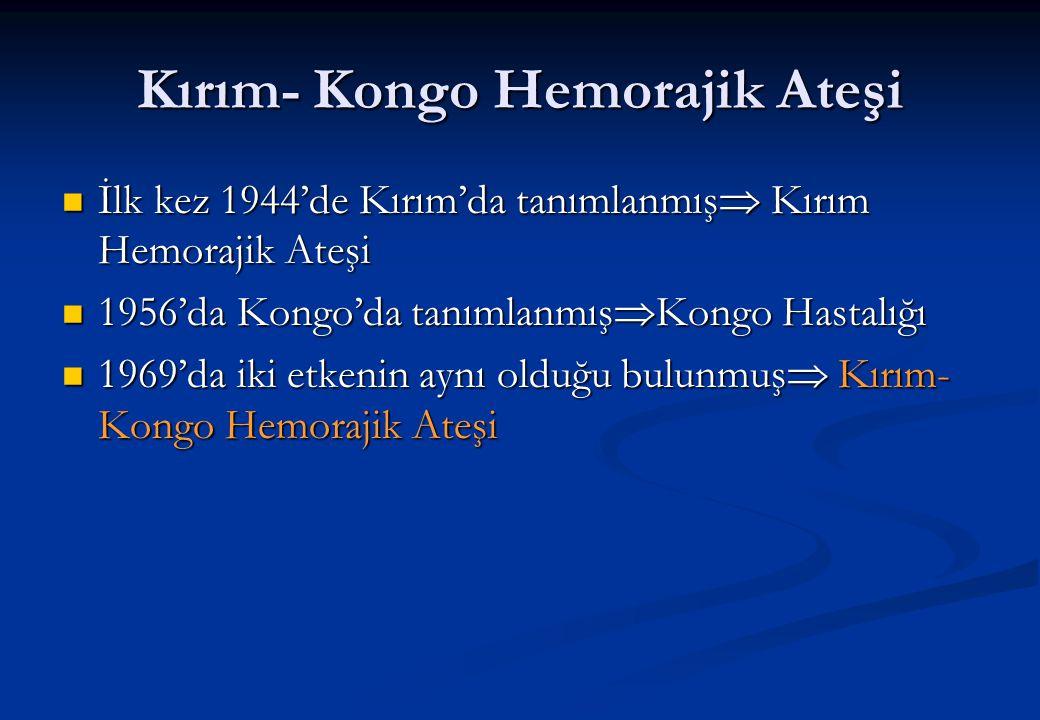 Kırım- Kongo Hemorajik Ateşi  İlk kez 1944'de Kırım'da tanımlanmış  Kırım Hemorajik Ateşi  1956'da Kongo'da tanımlanmış  Kongo Hastalığı  1969'da