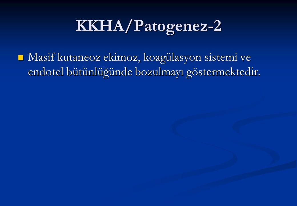 KKHA/Patogenez-3 Histopatolojik incelemelerde :  Karaciğerde hemoraji nekroz, hepatoselüler nekroz, eosinofilik nekroz,Kupffer hücre hiperplazisi,mononükleer hücre infiltrasyonu,  Dalakta lenfosit tüketimi,  Akciğerde hemoraji, ödem  Birçok organda hemoraji ve hücresel nekroz olduğu gösterilmiştir.