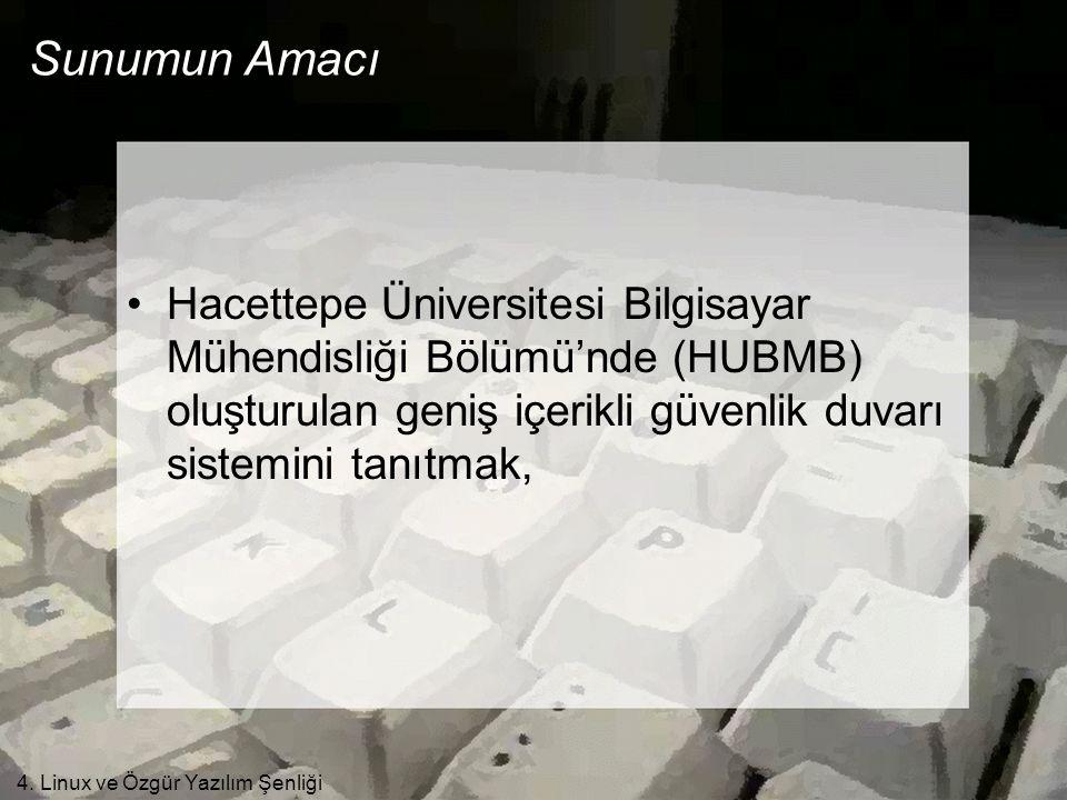 4. Linux ve Özgür Yazılım Şenliği Sunumun Amacı •Hacettepe Üniversitesi Bilgisayar Mühendisliği Bölümü'nde (HUBMB) oluşturulan geniş içerikli güvenlik
