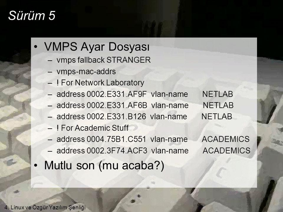 4. Linux ve Özgür Yazılım Şenliği Sürüm 5 •VMPS Ayar Dosyası –vmps fallback STRANGER –vmps-mac-addrs –! For Network Laboratory –address 0002.E331.AF9F