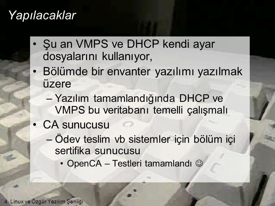 4. Linux ve Özgür Yazılım Şenliği Yapılacaklar •Şu an VMPS ve DHCP kendi ayar dosyalarını kullanıyor, •Bölümde bir envanter yazılımı yazılmak üzere –Y