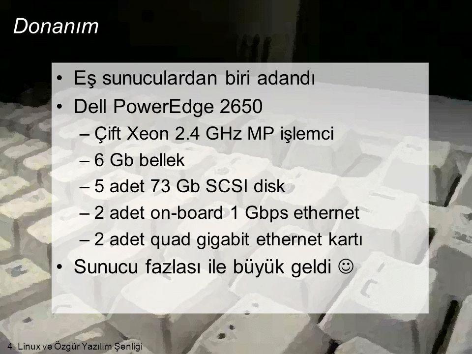 4. Linux ve Özgür Yazılım Şenliği Donanım •Eş sunuculardan biri adandı •Dell PowerEdge 2650 –Çift Xeon 2.4 GHz MP işlemci –6 Gb bellek –5 adet 73 Gb S