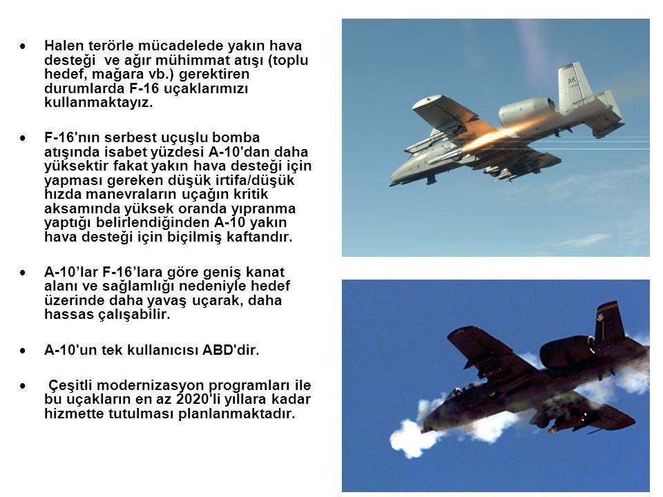  Halen terörle mücadelede yakın hava desteği ve ağır mühimmat atışı (toplu hedef, mağara vb.) gerektiren durumlarda F-16 uçaklarımızı kullanmaktayız.
