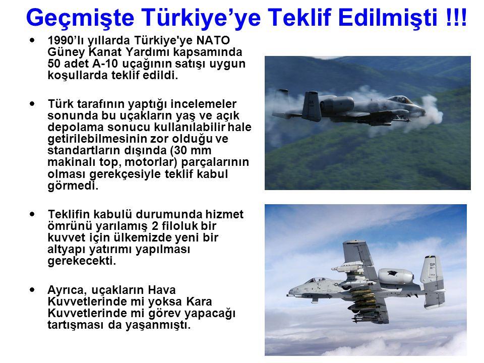 Geçmişte Türkiye'ye Teklif Edilmişti !!!  1990'lı yıllarda Türkiye'ye NATO Güney Kanat Yardımı kapsamında 50 adet A-10 uçağının satışı uygun koşullar