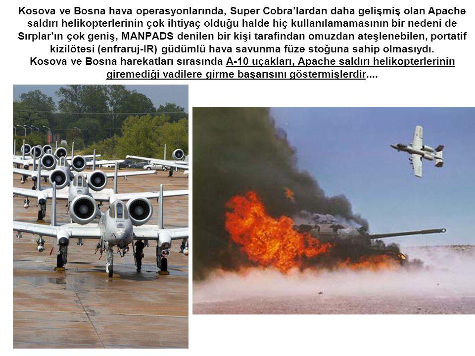 Kosova ve Bosna hava operasyonlarında, Super Cobra'lardan daha gelişmiş olan Apache saldırı helikopterlerinin çok ihtiyaç olduğu halde hiç kullanılama
