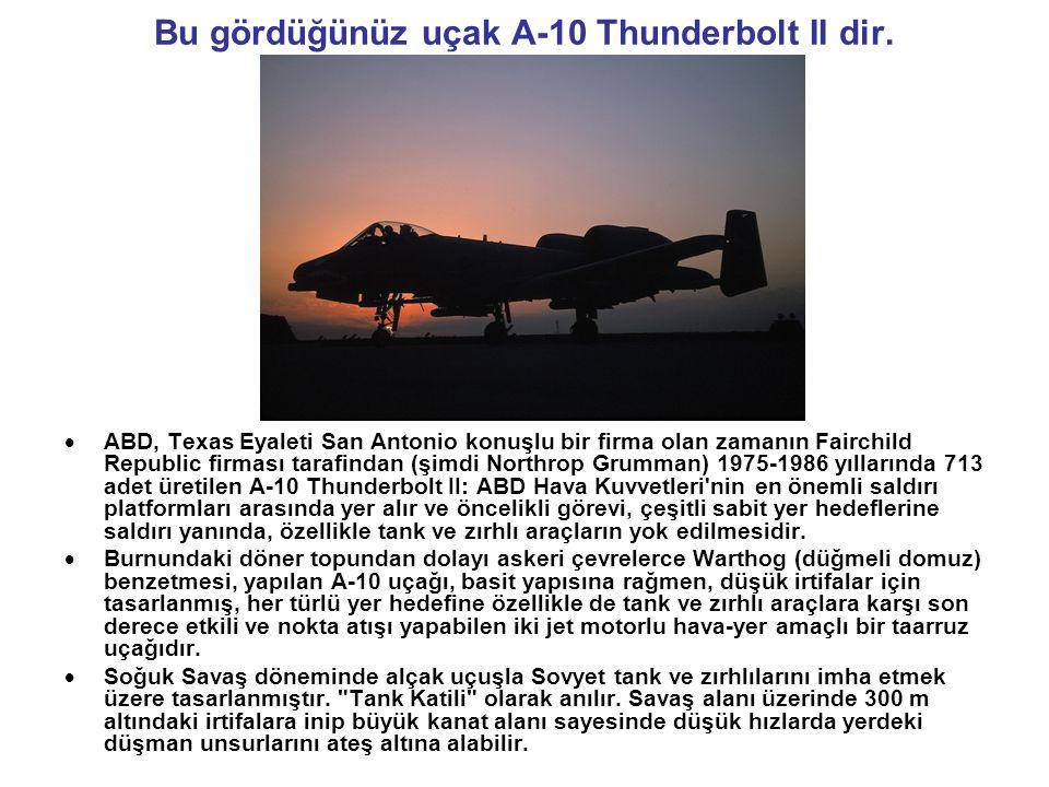 Bu gördüğünüz uçak A-10 Thunderbolt II dir.  ABD, Texas Eyaleti San Antonio konuşlu bir firma olan zamanın Fairchild Republic firması tarafindan (şim