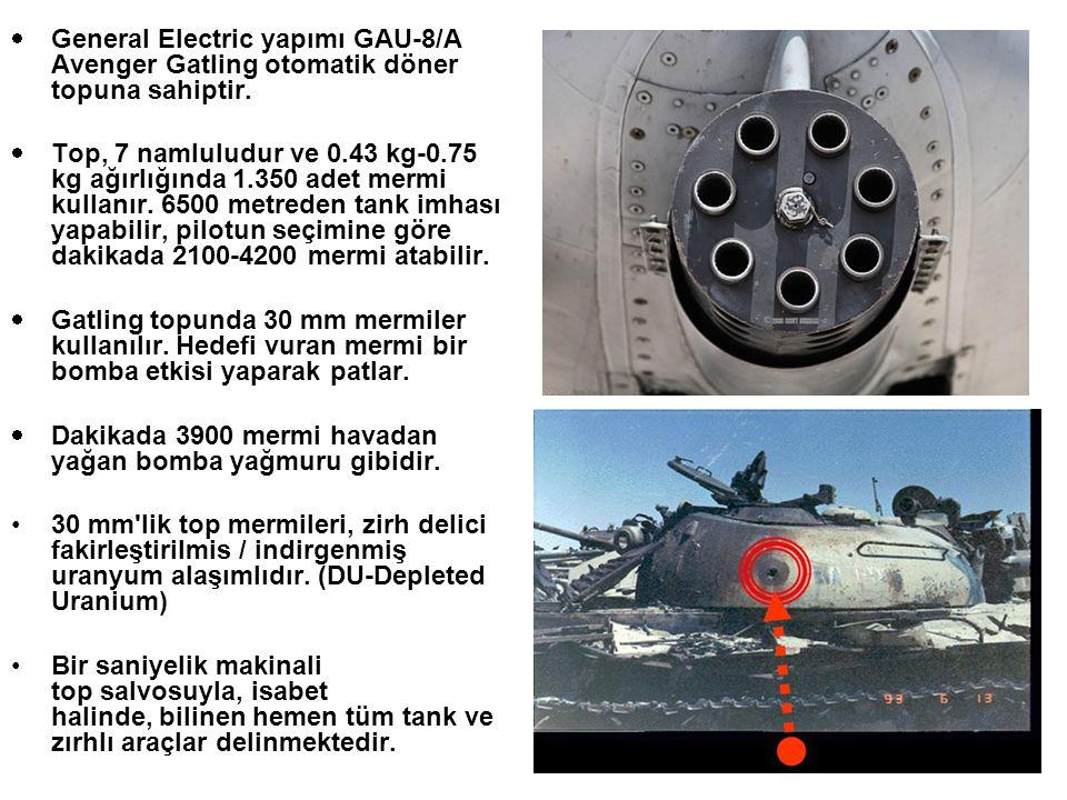  General Electric yapımı GAU-8/A Avenger Gatling otomatik döner topuna sahiptir.  Top, 7 namluludur ve 0.43 kg-0.75 kg ağırlığında 1.350 adet mermi