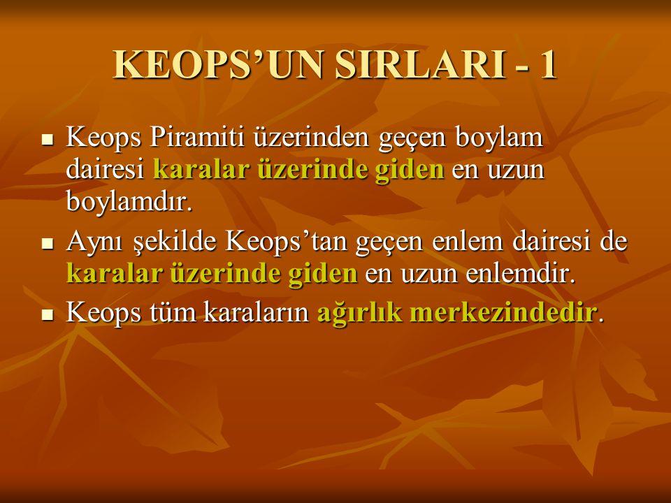 KEOPS'UN SIRLARI - 1  Keops Piramiti üzerinden geçen boylam dairesi karalar üzerinde giden en uzun boylamdır.