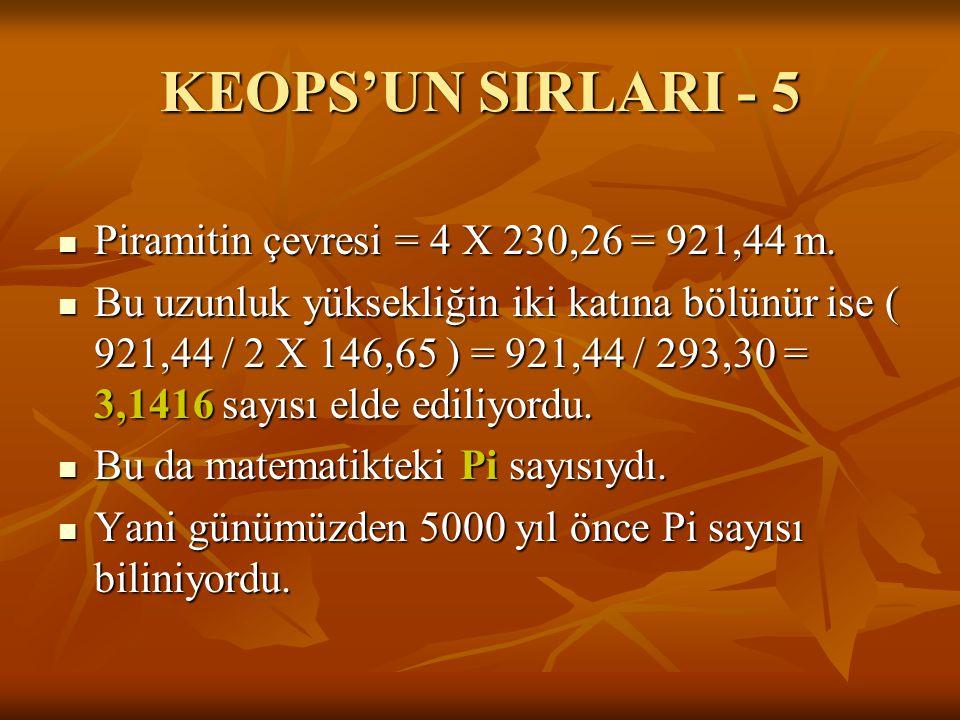KEOPS'UN SIRLARI - 5  Piramitin çevresi = 4 X 230,26 = 921,44 m.  Bu uzunluk yüksekliğin iki katına bölünür ise ( 921,44 / 2 X 146,65 ) = 921,44 / 2