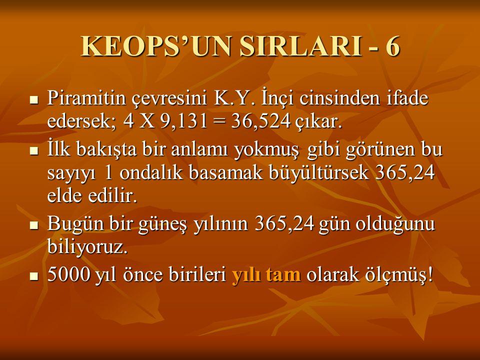 KEOPS'UN SIRLARI - 6  Piramitin çevresini K.Y. İnçi cinsinden ifade edersek; 4 X 9,131 = 36,524 çıkar.  İlk bakışta bir anlamı yokmuş gibi görünen b