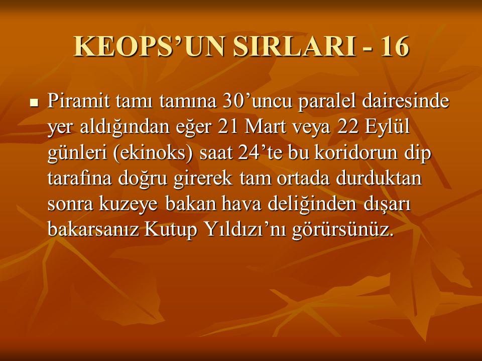 KEOPS'UN SIRLARI - 16  Piramit tamı tamına 30'uncu paralel dairesinde yer aldığından eğer 21 Mart veya 22 Eylül günleri (ekinoks) saat 24'te bu korid