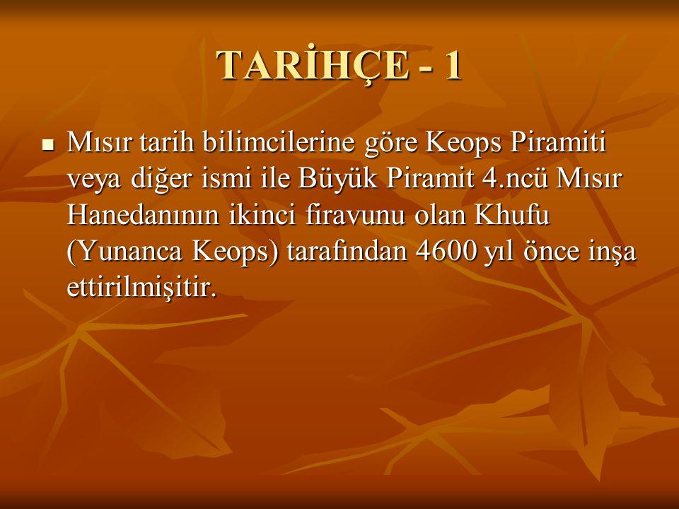 TARİHÇE - 1  Mısır tarih bilimcilerine göre Keops Piramiti veya diğer ismi ile Büyük Piramit 4.ncü Mısır Hanedanının ikinci firavunu olan Khufu (Yunanca Keops) tarafından 4600 yıl önce inşa ettirilmişitir.