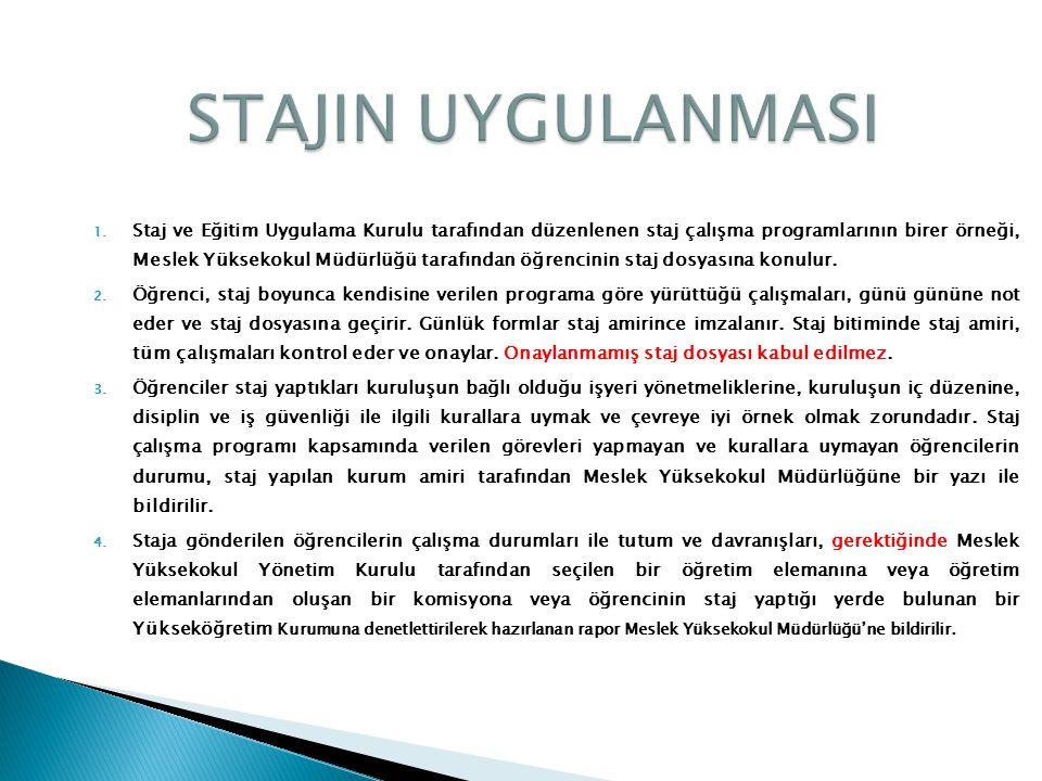 1. Staj ve Eğitim Uygulama Kurulu tarafından düzenlenen staj çalışma programlarının birer örneği, Meslek Yüksekokul Müdürlüğü tarafından öğrencinin st