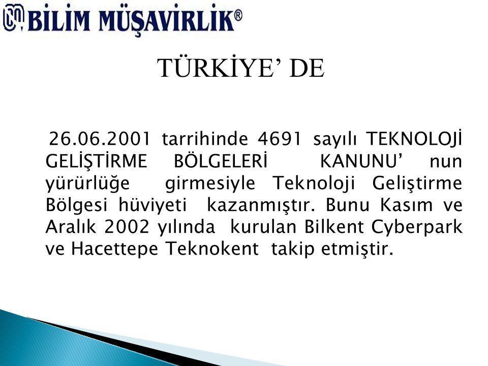 26.06.2001 tarrihinde 4691 sayılı TEKNOLOJİ GELİŞTİRME BÖLGELERİ KANUNU' nun yürürlüğe girmesiyle Teknoloji Geliştirme Bölgesi hüviyeti kazanmıştır. B