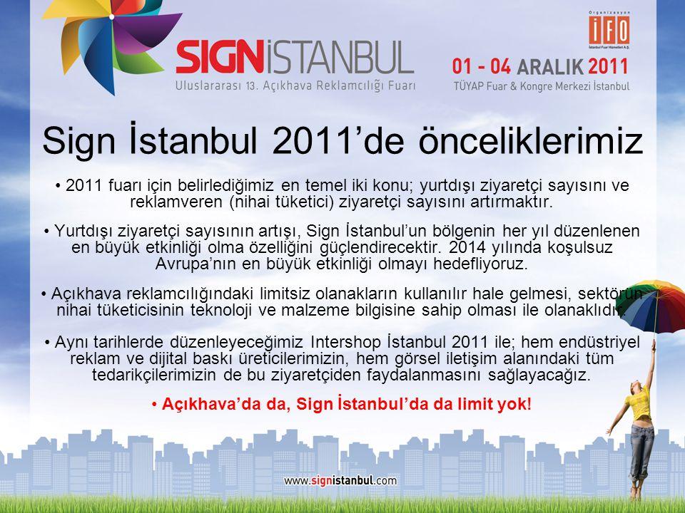 Sign İstanbul 2011'de önceliklerimiz • 2011 fuarı için belirlediğimiz en temel iki konu; yurtdışı ziyaretçi sayısını ve reklamveren (nihai tüketici) z