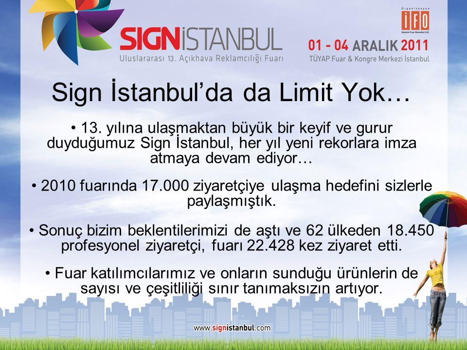 Sign İstanbul'da da Limit Yok… • 13. yılına ulaşmaktan büyük bir keyif ve gurur duyduğumuz Sign İstanbul, her yıl yeni rekorlara imza atmaya devam edi