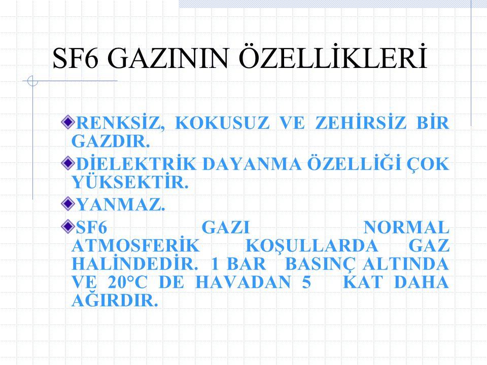 SF6 GAZININ ÖZELLİKLERİ RENKSİZ, KOKUSUZ VE ZEHİRSİZ BİR GAZDIR.