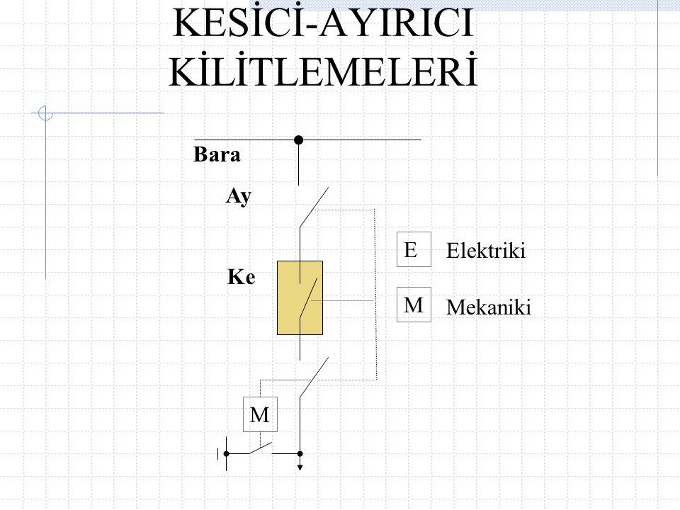 KESİCİ-AYIRICI KİLİTLEMELERİ E Elektriki M Mekaniki Bara Ay Ke M