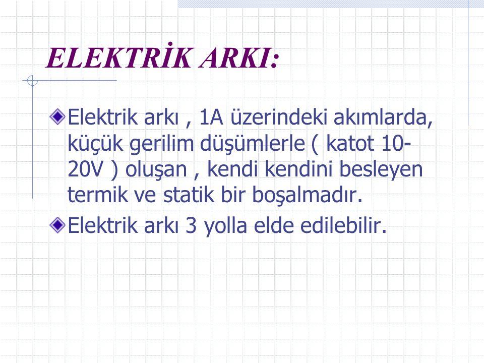ELEKTRİK ARKI: Elektrik arkı, 1A üzerindeki akımlarda, küçük gerilim düşümlerle ( katot 10- 20V ) oluşan, kendi kendini besleyen termik ve statik bir boşalmadır.