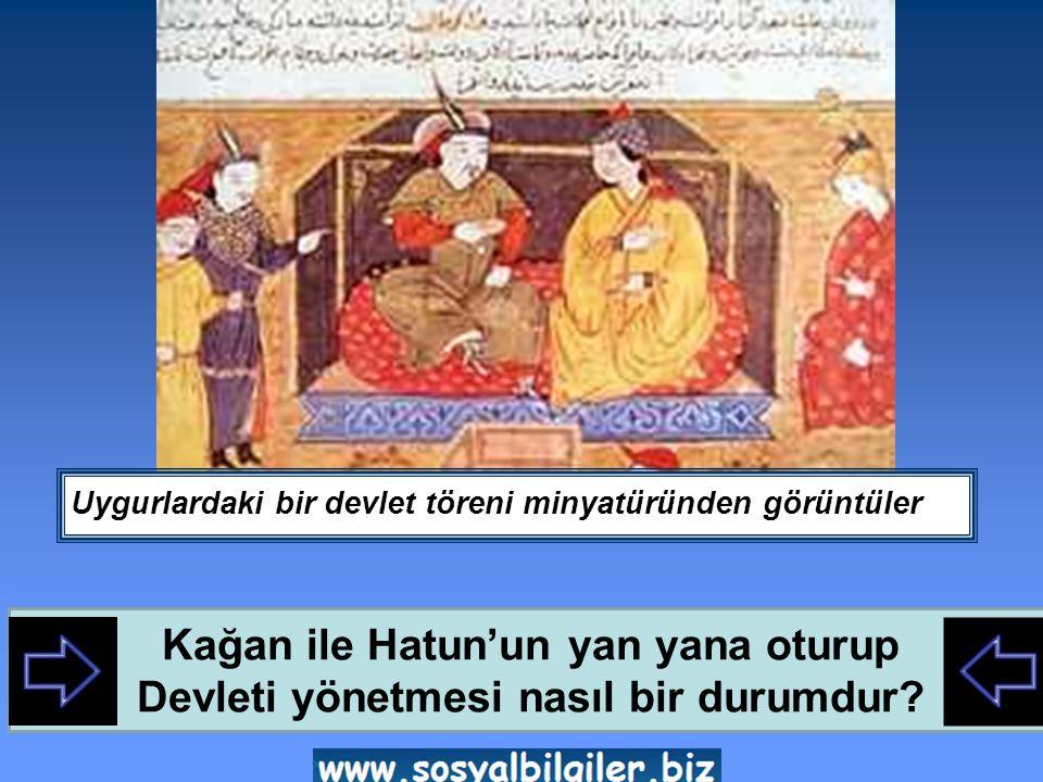 Uygurlardaki bir devlet töreni minyatüründen görüntüler Kağan ile Hatun'un yan yana oturup Devleti yönetmesi nasıl bir durumdur?