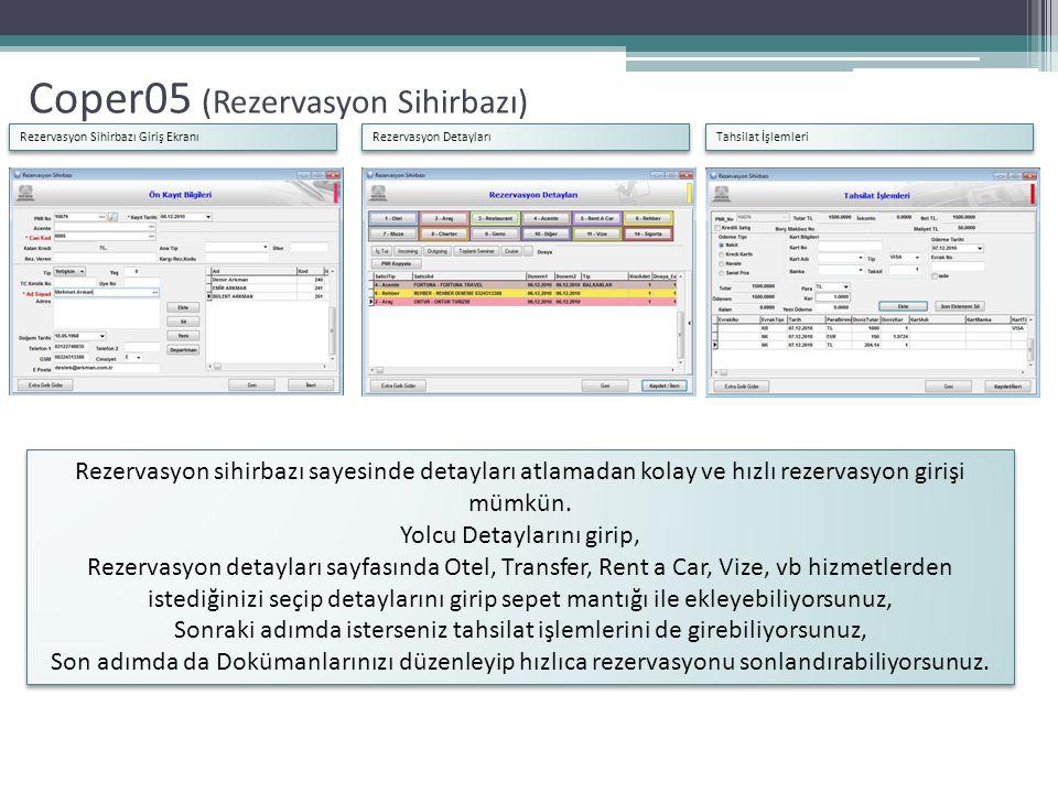 Coper05 (Rezervasyon Sihirbazı) Rezervasyon Sihirbazı Giriş Ekranı Rezervasyon Detayları Tahsilat İşlemleri Rezervasyon sihirbazı sayesinde detayları