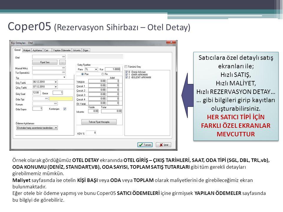 Coper05 (Rezervasyon Sihirbazı – Otel Detay) Satıcılara özel detaylı satış ekranları ile; Hızlı SATIŞ, Hızlı MALİYET, Hızlı REZERVASYON DETAY… … gibi