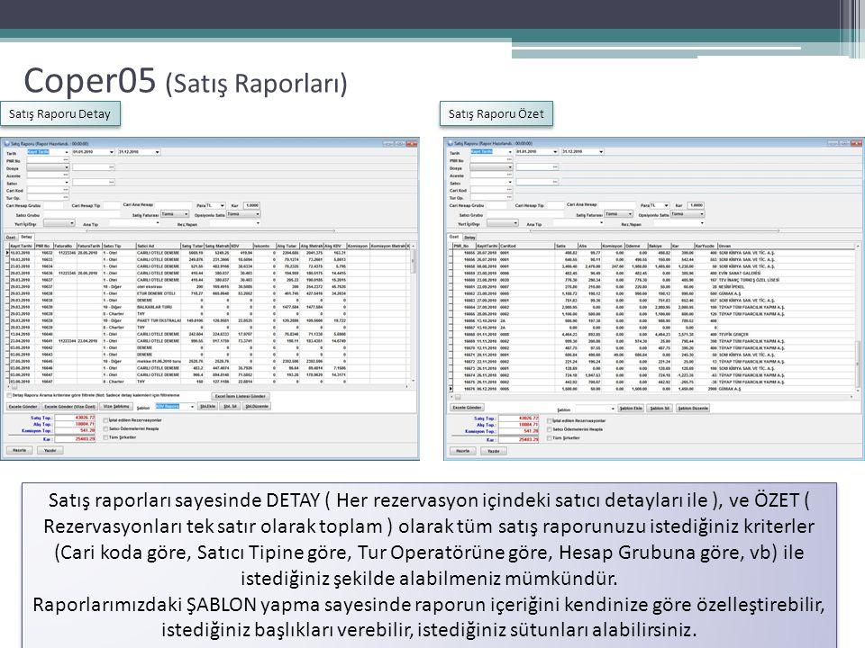 Coper05 (Satış Raporları) Satış Raporu Detay Satış Raporu Özet Satış raporları sayesinde DETAY ( Her rezervasyon içindeki satıcı detayları ile ), ve Ö