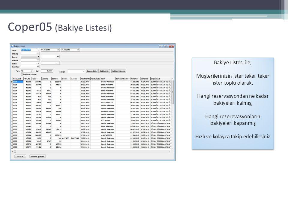 Coper05 (Alt Acente Komisyon Takipleri) Acente Komisyon Tanıtım Ekranı Acente Komisyon Rapor Ekranı Alt acentelerinizin komisyonlarını kolayca takip edebilir, kolay şekilde tanımlayabilir ve raporlayabilirsiniz İsterseniz Rezervasyon başına, İsterseniz Toplam raporlamanız mümkündür.