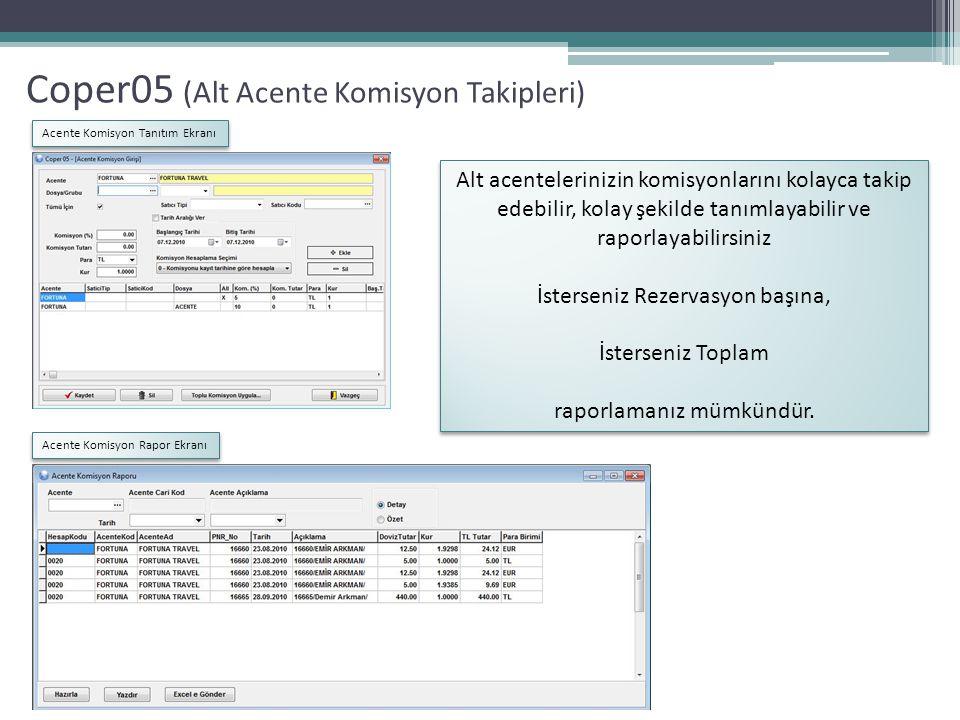 Coper05 (Alt Acente Komisyon Takipleri) Acente Komisyon Tanıtım Ekranı Acente Komisyon Rapor Ekranı Alt acentelerinizin komisyonlarını kolayca takip e