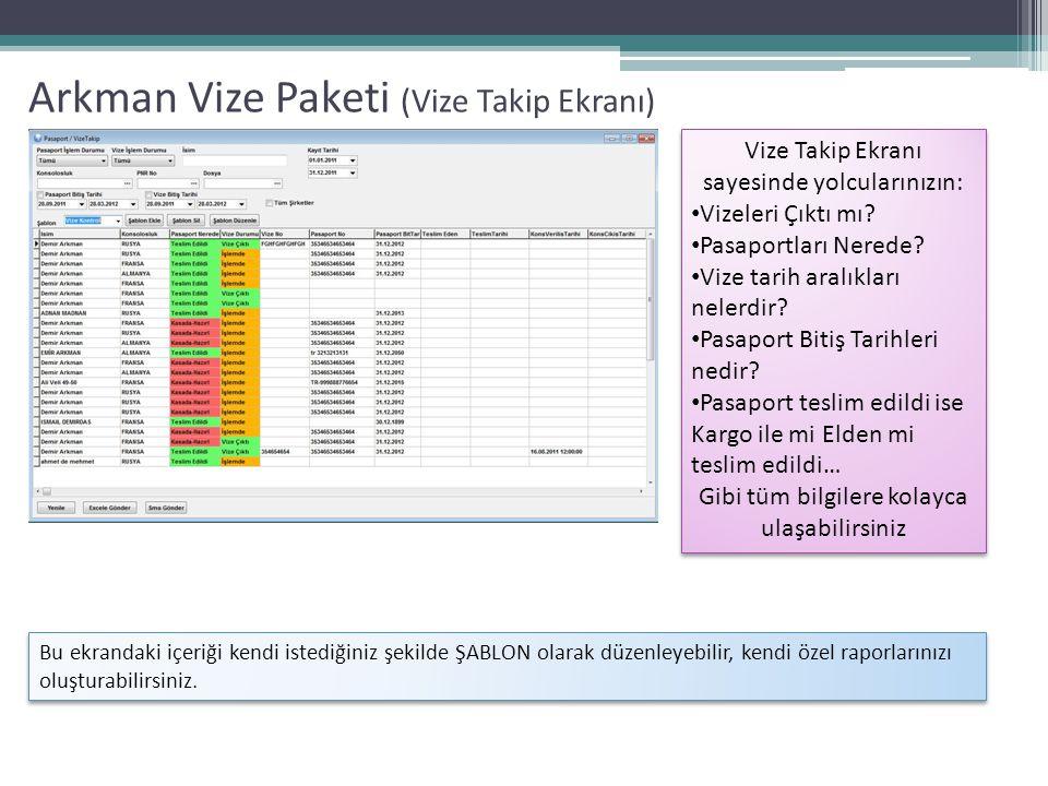 Arkman Vize Paketi (Ödeme Alma Ekranı) Ödeme Alma Ekranı sayesinde her kalem için ayrı ayrı tahsilat girebilirsiniz, bu işleri tek ekrandan yaparak zamandan tasarruf edersiniz.