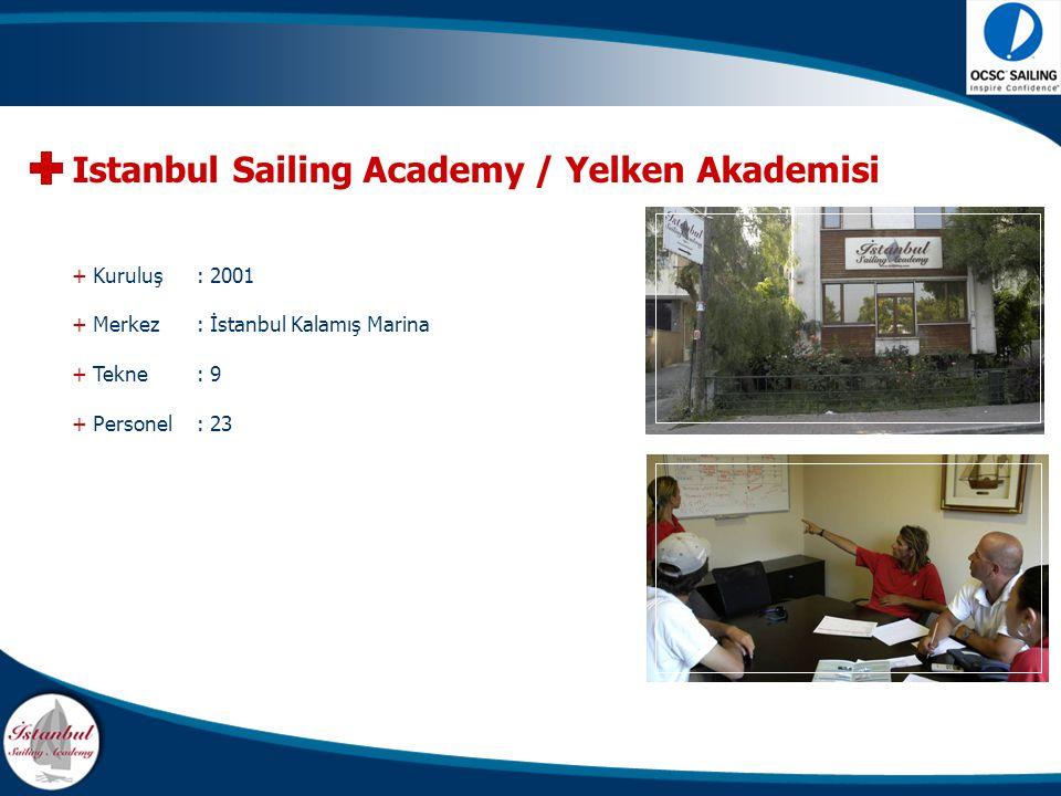 + Kuruluş : 2001 + Merkez: İstanbul Kalamış Marina + Tekne : 9 + Personel : 23 Istanbul Sailing Academy / Yelken Akademisi