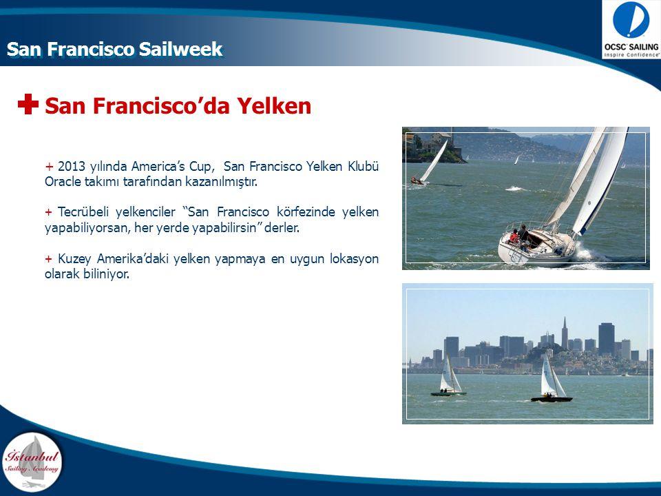 San Francisco'da Yelken +Küçüklü büyüklü 40 adet marina + 15.000 adet yelkenli tekne + Günde ortalama 800 tekne yelken yapmaktadır + 20 – 25 knot rüzgar ortalaması + 5 – 6 knot akıntı ortalaması San Francisco Sailweek