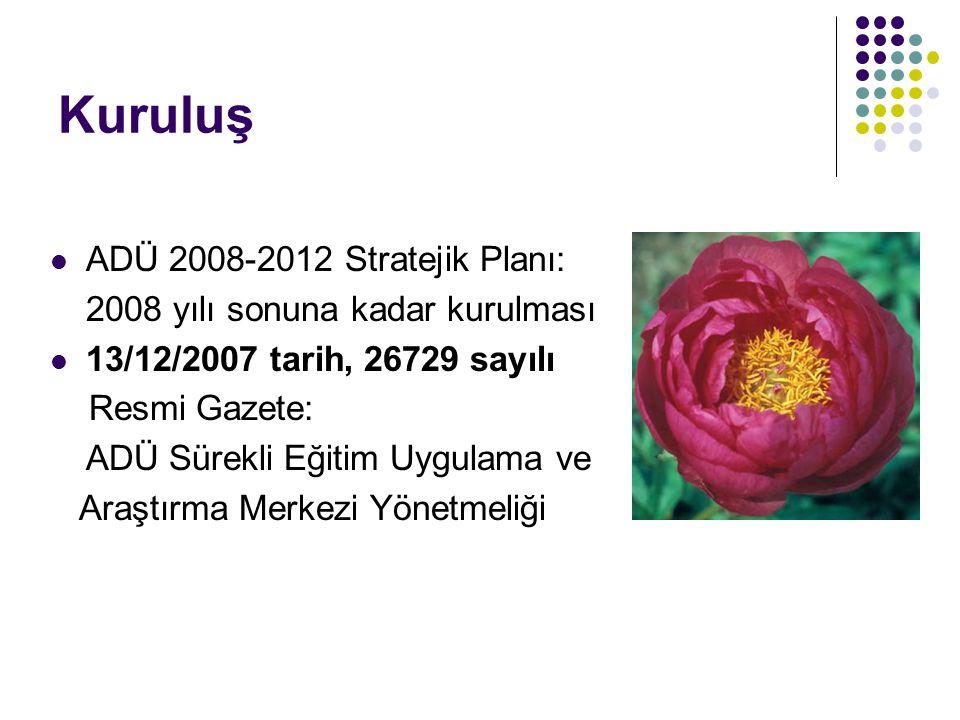 Kuruluş  ADÜ 2008-2012 Stratejik Planı: 2008 yılı sonuna kadar kurulması  13/12/2007 tarih, 26729 sayılı Resmi Gazete: ADÜ Sürekli Eğitim Uygulama v