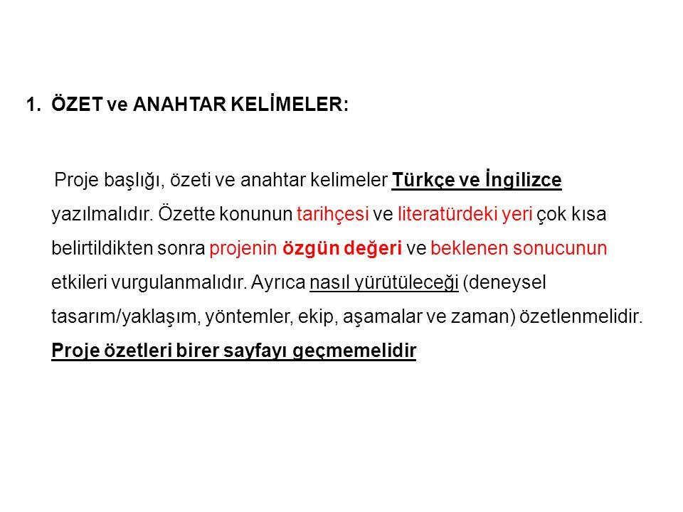 1.ÖZET ve ANAHTAR KELİMELER: Proje başlığı, özeti ve anahtar kelimeler Türkçe ve İngilizce yazılmalıdır. Özette konunun tarihçesi ve literatürdeki yer