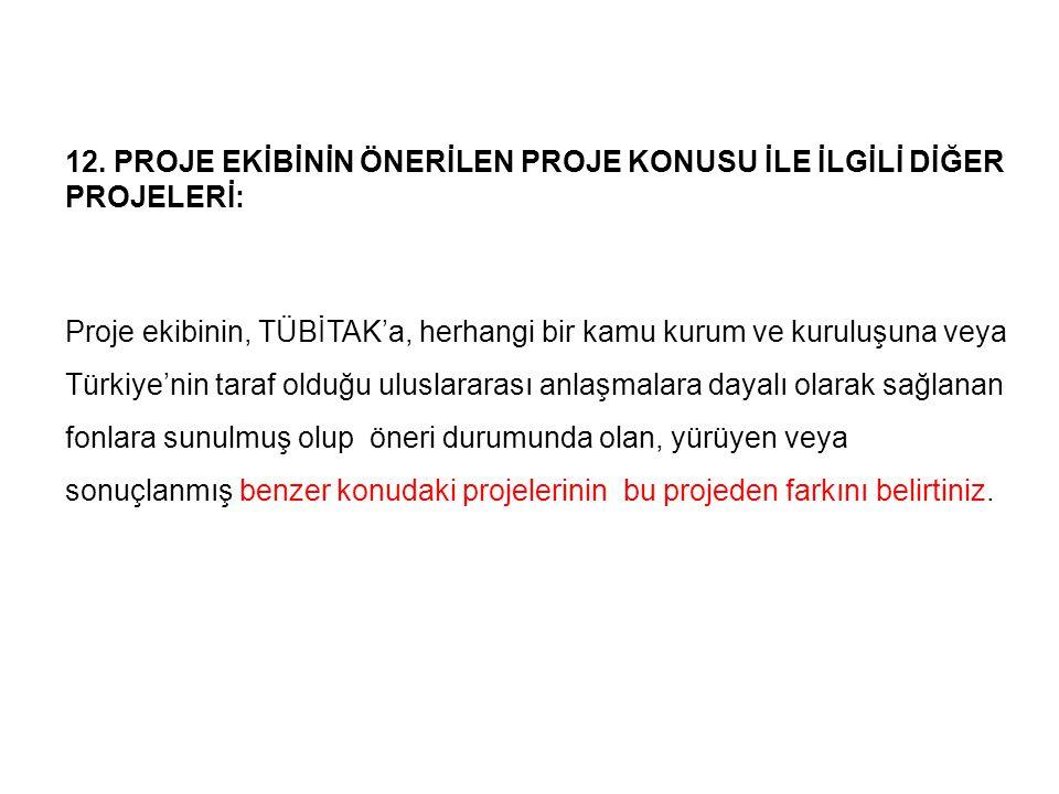 12. PROJE EKİBİNİN ÖNERİLEN PROJE KONUSU İLE İLGİLİ DİĞER PROJELERİ: Proje ekibinin, TÜBİTAK'a, herhangi bir kamu kurum ve kuruluşuna veya Türkiye'nin