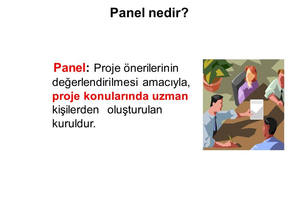 Panel: Proje önerilerinin değerlendirilmesi amacıyla, proje konularında uzman kişilerden oluşturulan kuruldur. Panel nedir?