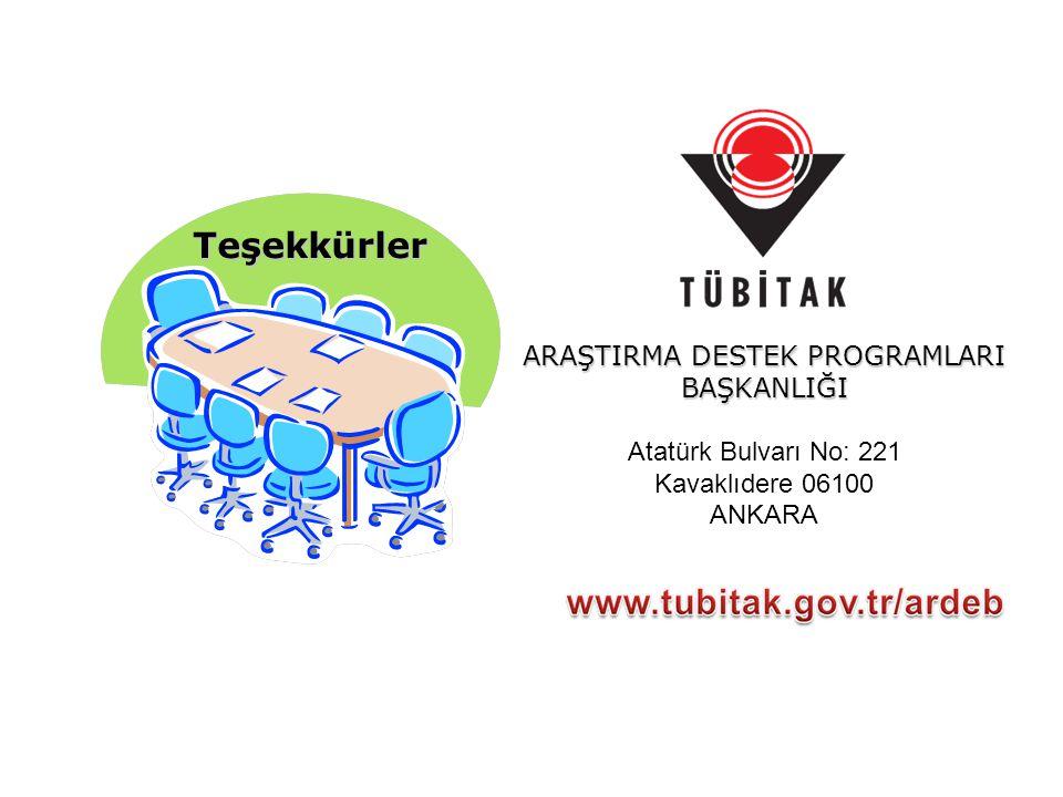 Teşekkürler ARAŞTIRMA DESTEK PROGRAMLARI BAŞKANLIĞI Atatürk Bulvarı No: 221 Kavaklıdere 06100 ANKARA