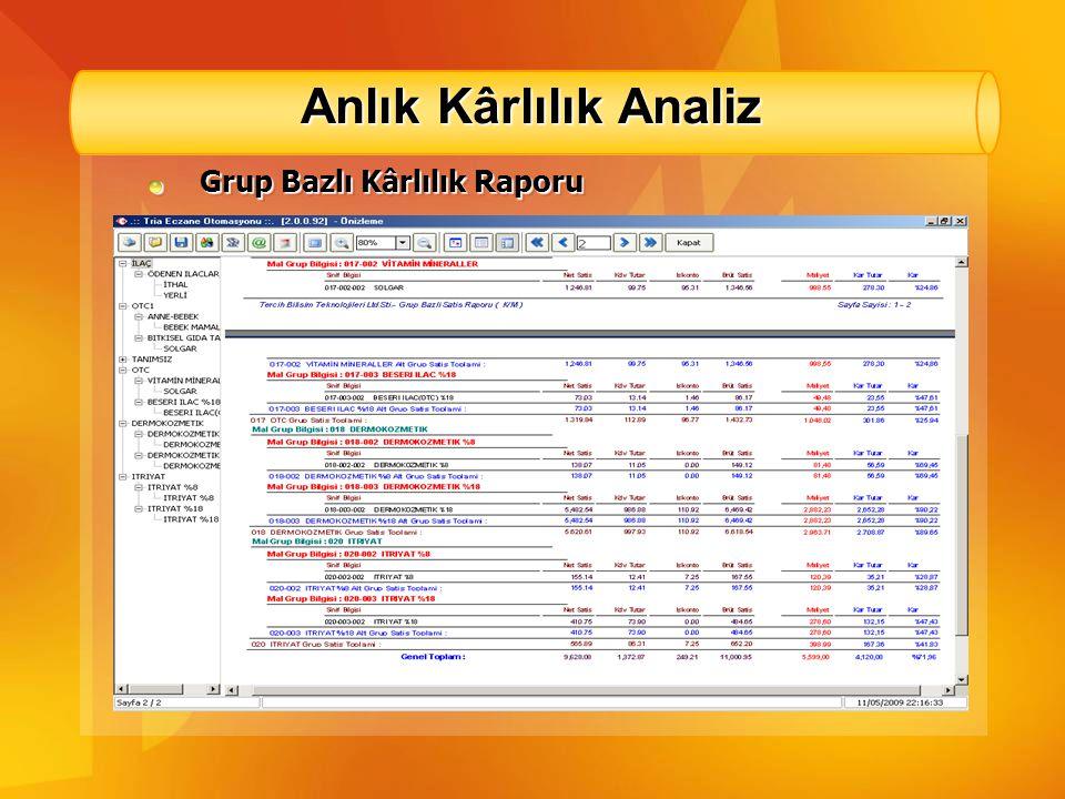 Anlık Kârlılık Analiz Kasa Bazlı Satış Raporu