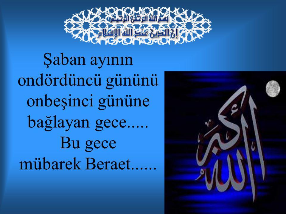 Bu geceye, kulların günahlarının affolunması ve temize çıkmaları sebebiyle Beraet ; geceyi iyi değerlendiren kulların seçilerek salih kullar arasına alınması sebebiyle 'Berae' ve 'sakk' adı da verilir.
