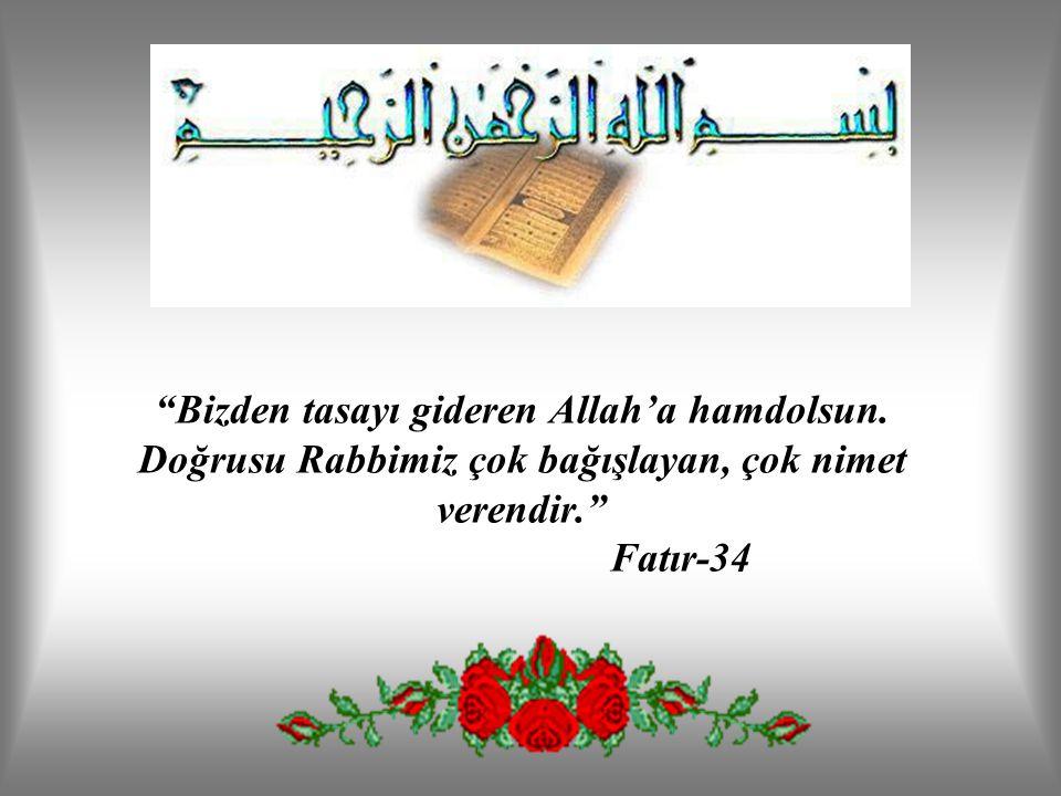 """""""Bizden tasayı gideren Allah'a hamdolsun. Doğrusu Rabbimiz çok bağışlayan, çok nimet verendir."""" Fatır-34"""