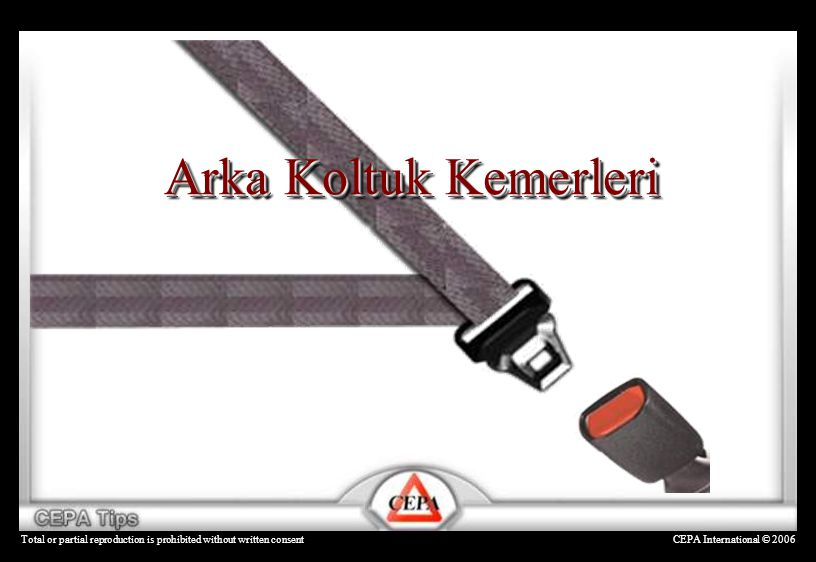 CEPA International © 2006Total or partial reproduction is prohibited without written consent Arka Koltuk Kemerleri