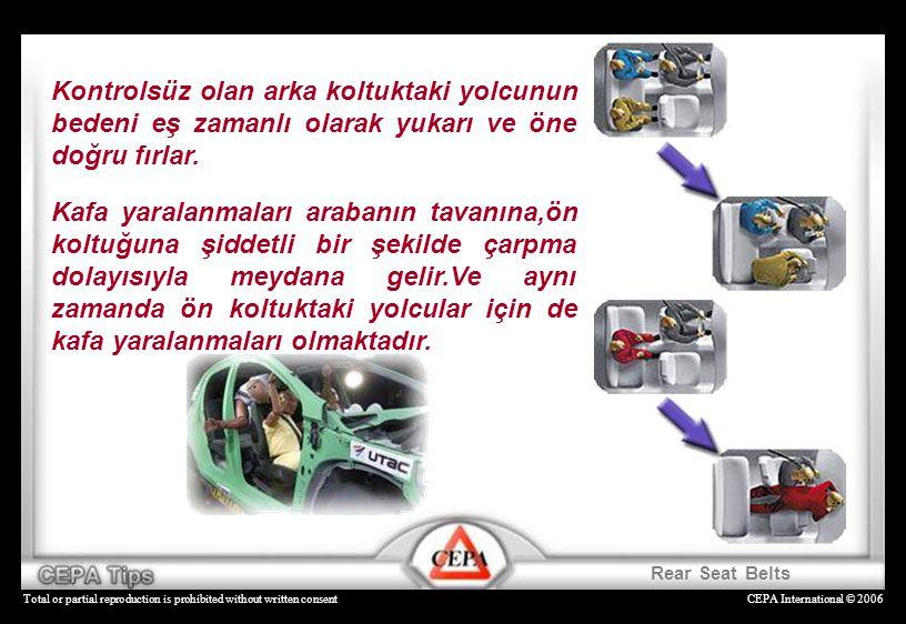 CEPA International © 2006Total or partial reproduction is prohibited without written consent Kontrolsüz olan arka koltuktaki yolcunun bedeni eş zamanl