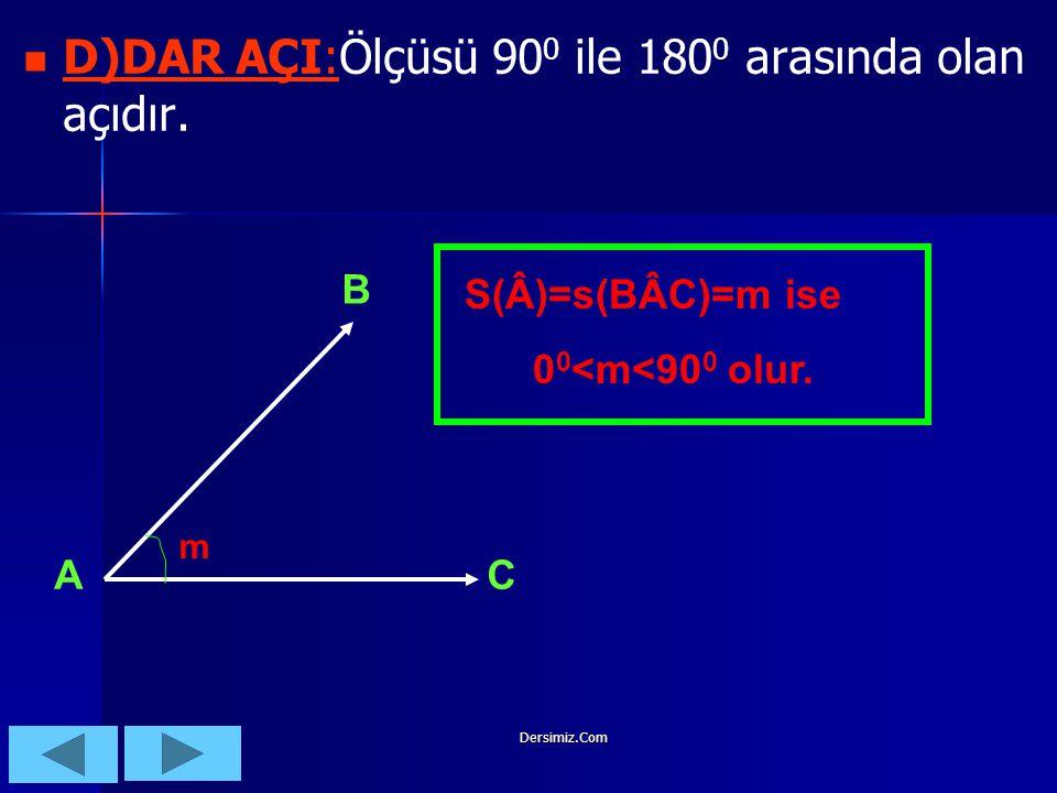 Dersimiz.Com  C)İK AÇI  C)DİK AÇI:Ölçüsü 90 0 olan açılara denir. C)İK AÇI C)DİK AÇI:. B A C S(BÂC)=s(Â)=90 0