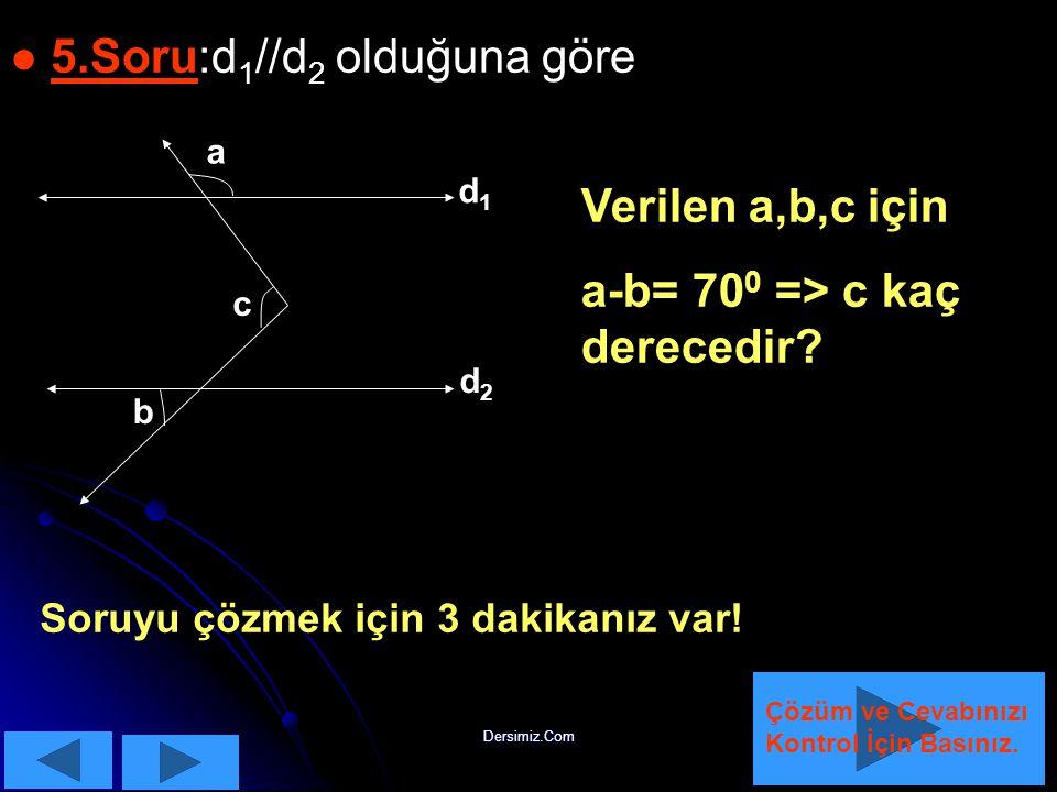 Dersimiz.Com KKuralımızı hatırlattıktan sonra sorumuzu çözebiliriz: KKuralımızda şekildeki üç açının toplamının 360 0 olduğu söyleniyor.O hald