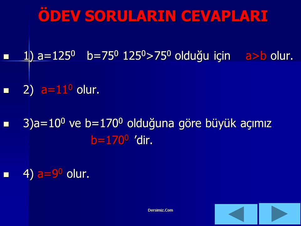 Dersimiz.Com ÇÇÖZÜM: d1d1 d2d2 b b c a 180 0 -a b Şekilden de anlaşıldığı gibi c=180 0 -(a-b) olur. Burada – parantezine aldık. O halde denklemi ç