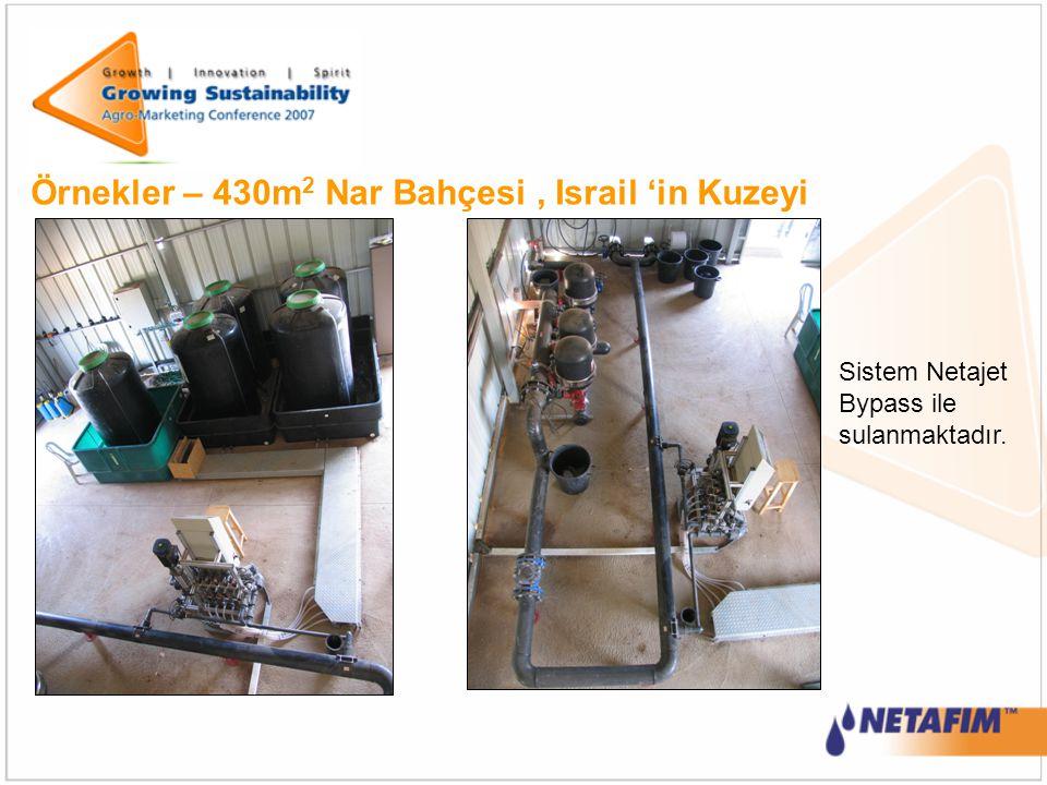 Örnekler – 430m 2 Nar Bahçesi, Israil 'in Kuzeyi Sistem Netajet Bypass ile sulanmaktadır.