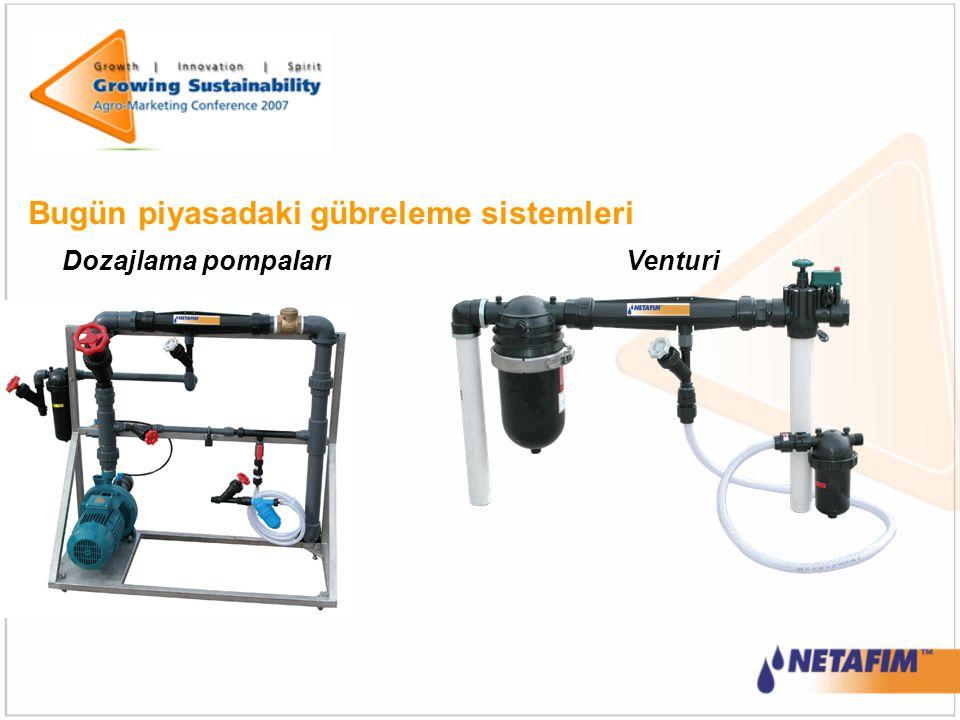 Bugün piyasadaki gübreleme sistemleri VenturiDozajlama pompaları