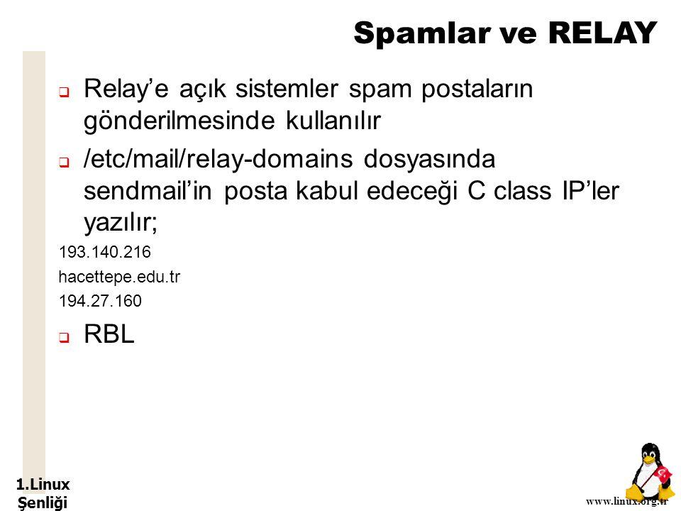 1.Linux Şenliği www.linux.org.tr Spamlar ve RELAY  Relay'e açık sistemler spam postaların gönderilmesinde kullanılır  /etc/mail/relay-domains dosyasında sendmail'in posta kabul edeceği C class IP'ler yazılır; 193.140.216 hacettepe.edu.tr 194.27.160  RBL